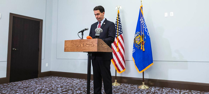 Wisconsin governor Scott Walker. (photo: Andy Manis/Getty Images)