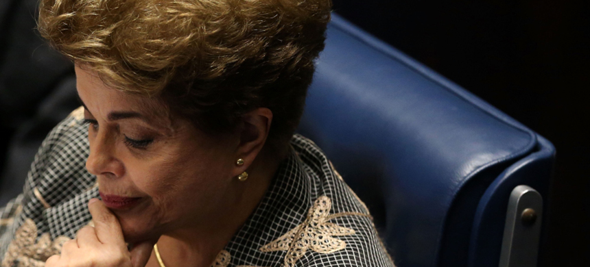 Suspended Brazilian president Dilma Rousseff attends a Senate impeachment trial in Brasilia, Brazil, Aug. 29, 2016.