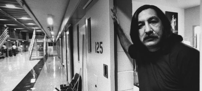 Leonard Peltier, the  Native American activist and member of the American Indian Movement (AIM). Here he is pictured in prison. (photo: Unknown)