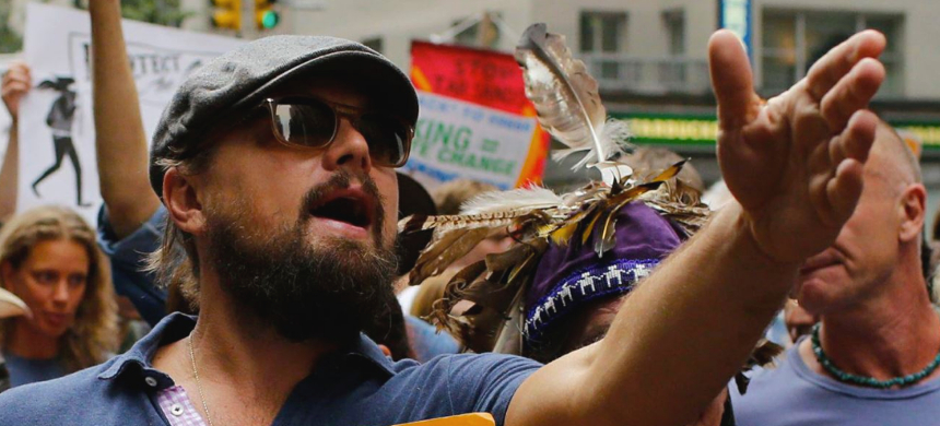 Leonardo DiCaprio participating in a climate change march in New York. (photo: Eduardo Munoz/Reuters)