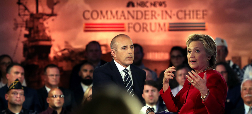 Clinton and NBC's Matt Lauer on stage at the Commander in Chief Forum on September 7. (photo: Justin Sullivan/Getty)