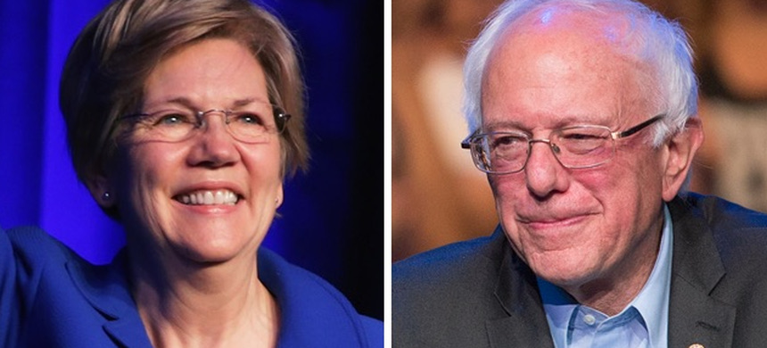 Senators Elizabeth Warren and Bernie Sanders. (photo: Getty)