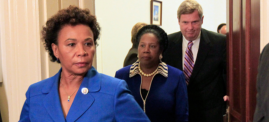 From left, Congressional Black Caucus chairwoman Rep. Barbara Lee, Rep. Sheila Jackson Lee, D-Texas, and Secretary of Agriculture Tom Vilsack walk out after their meeting on Capitol Hill in Washington on July 21, 2010. (photo: Alex Brandon/AP)