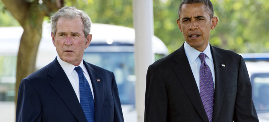 President Barack Obama and George W. Bush. (photo: Getty Images)