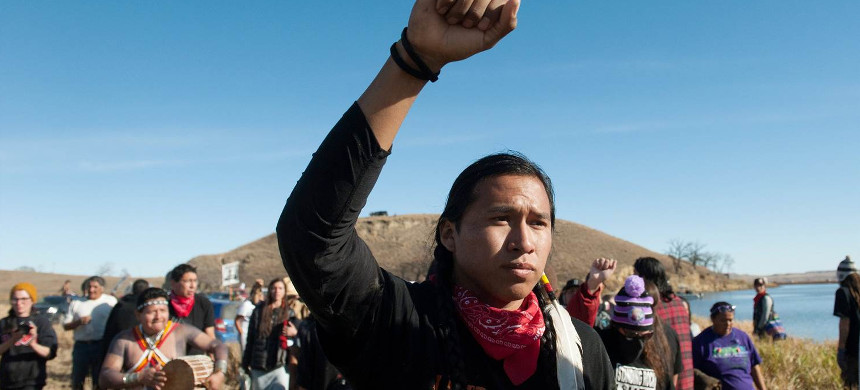 People protest against the building of a pipeline on the Standing Rock Indian Reservation near Cannonball, North Dakota, U.S. November 2, 2016. (photo: Stephanie Keith/Reuters)