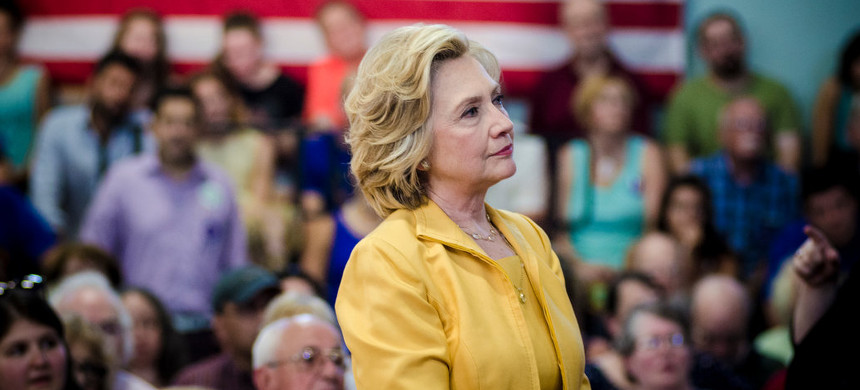 Hillary Rodham Clinton, campaigning for president, attended a town hall event in Nashua, New Hampshire, in July to speak with potential supporters. (photo: Ian Thomas Jansen-Lonnquist/The New York Times)