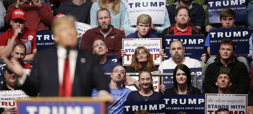 Supporters listen as Republican presidential candidate Donald Trump speaks during a campaign stop at the Allen County War Memorial Coliseum, Sunday, May 1, 2016, in Fort Wayne, Indiana. (photo: Darron Cummings/AP)