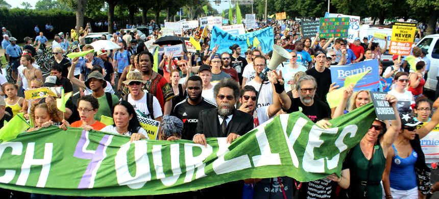 Supporters of Bernie Sanders and the Green Party march with Cornel West  in Philadelphia, PA, during the Democratic National Convention. (photo: Andrew Stefan/RSN)