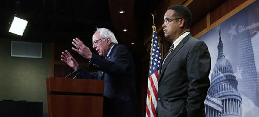 Senator Bernie Sanders and Representative Keith Ellison speak during a news conference. (photo: Alex Wong/Getty Images)