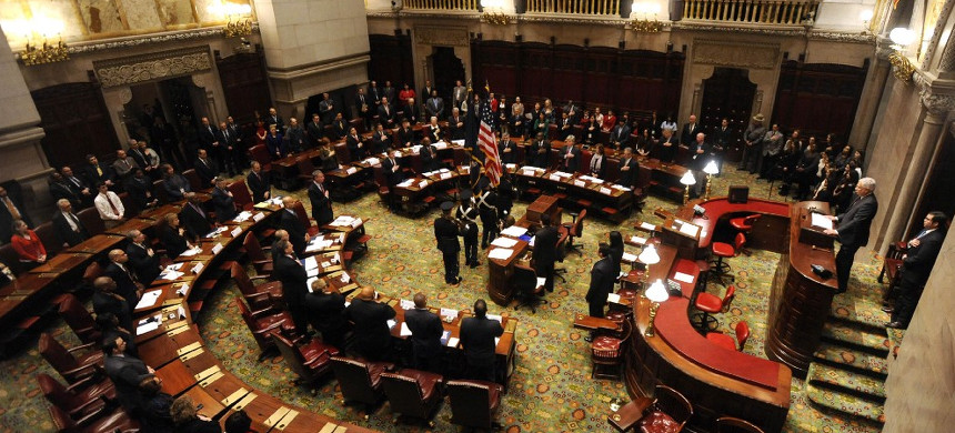 Members of New York's Electoral College meet in the New York state Senate Chamber in Albany, New York, to elect President Barack Obama and Vice President Joseph Biden on Monday, December 17, 2012. Members of the Electoral College cast the official, final votes in the 2012 presidential election. (photo: Tim Roske/AP)