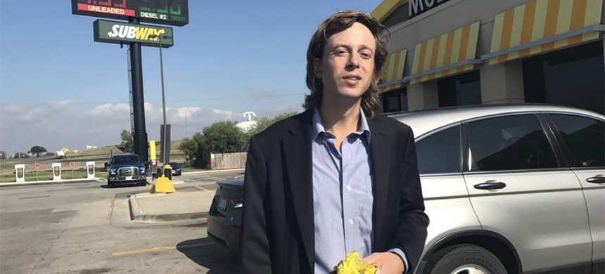 Barrett Brown enjoys an Egg McMuffin after being released from prison. (photo: FreeBarrettBrown/Twitter)