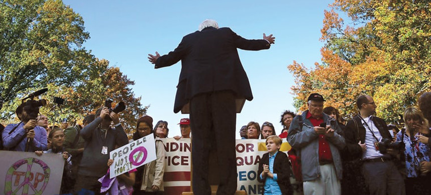 Sanders at a rally on Capitol Hill for economic and social justice. (photo: Mark Wilson/Getty Images)