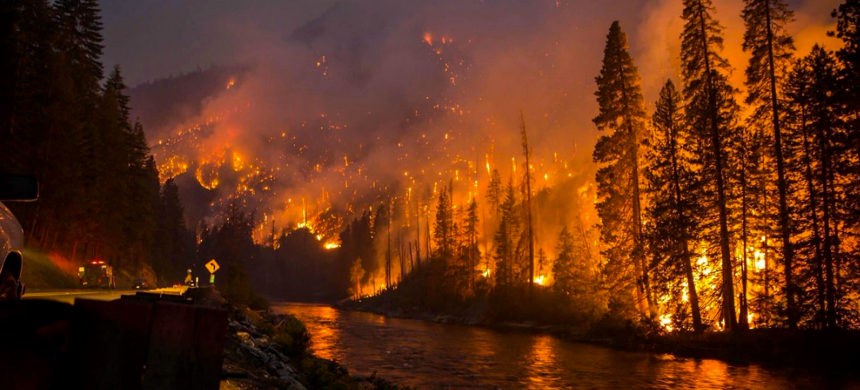 A wall of flames lurches over a ridge near Lower Lake, California. (photo: Kent Porter/AP)
