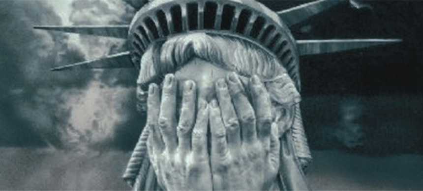 The Statue of Liberty crying. (illustration: The Greanville Post)