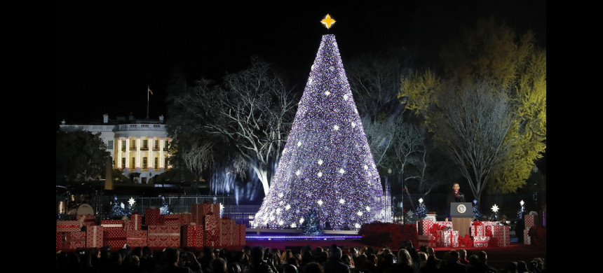 The lighting ceremony for the 2016 National Christmas Tree. (photo: Alex Brandon/AP)