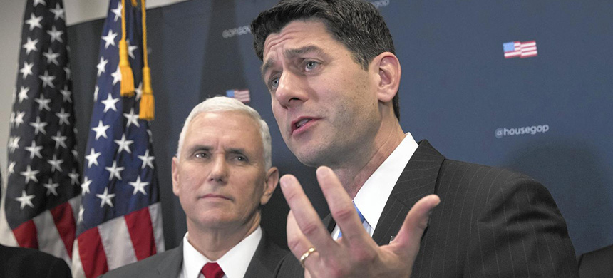 Vice President-elect Mike Pence, left, joins House Speaker Paul Ryan at a news conference on Capitol Hill in Washington on Jan. 4, 2017, following a closed-door meeting with the GOP caucus. Pence and Ryan promised repeal of President Obama's health care law now that the GOP is in charge of the White House and Congress. (photo: J. Scott Applewhite/AP)
