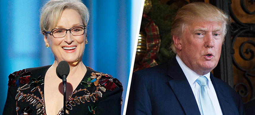 Meryl Streep at the Golden Globes and Donald Trump. (photo: Don Emmert/Getty Images)