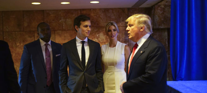 Jared Kushner, third from left, the son-in-law of Donald Trump, with his wife, Ivanka Trump, the day that Trump announced his presidential campaign at Trump Tower in New York, June 16, 2015. Trump has long preferred the advice of family over political operatives, and Kushner was seen as a de facto campaign manager. (photo: Todd Heisler/NYT)