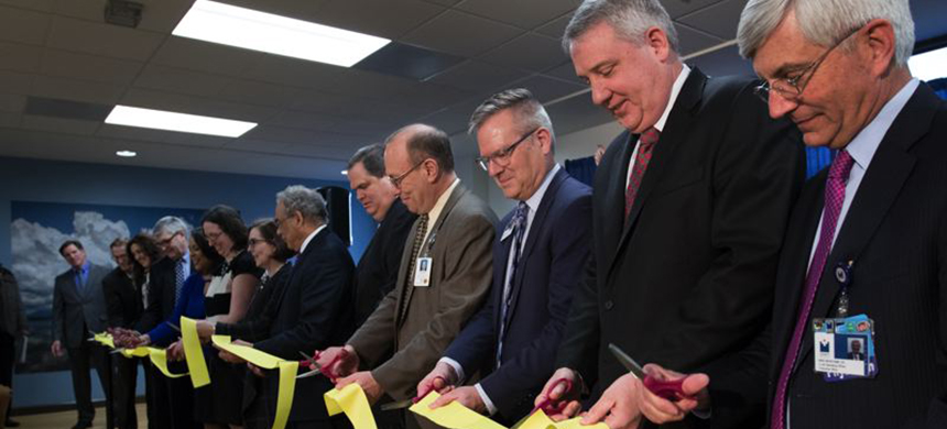 Governor Kate Brown, Mayor Ted Wheeler and others cut the ribbon at the grand opening ceremony for the Unity Center for Behavioral Health in Portland on January 5. (photo: Kristyna Wentz-Graff/OHSU)