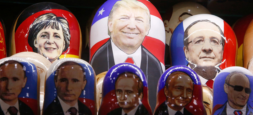 Painted Matryoshka dolls, or Russian nesting dolls, bearing the faces of U.S. Republican presidential nominee Donald Trump and Russian president Vladimir Putin at a souvenir shop in Moscow. (photo: Joshua Nistas/Reuters)