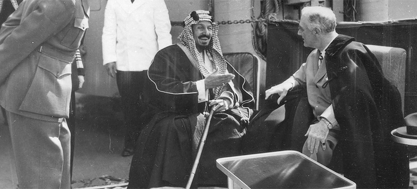 In 1945, U.S. President Franklin D. Roosevelt met with King Abdul Aziz Ibn Saud, part of a behind-the-scenes policy to ensure access to oil for the U.S. and its allies. (photo: National Archives and Records Administration)