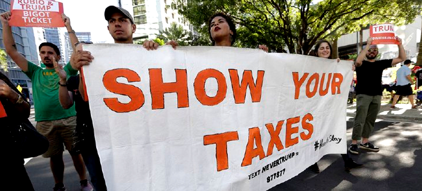 Protesters demanding that Donald Trump release his taxes. (photo: WE)