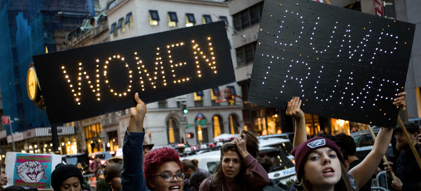Women protesting against Donald Trump. (photo: Getty Images)