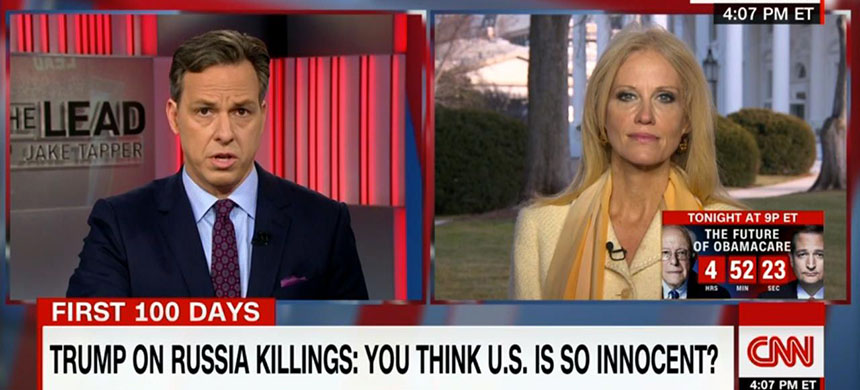 Jake Tapper questions Trump adviser Kellyanne Conway on CNN's 'The Lead' on Tuesday, February 7, 2017 - just days after the network refused to let her appear as a guest on Tapper's Sunday talk show. (photo: CNN)