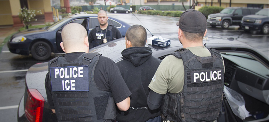 A Feb. 7 photo released by U.S. Immigration and Customs Enforcement shows foreign nationals being arrested this week during a targeted enforcement operation conducted in Los Angeles. (photo: Charles Reed/US ICE/AP)