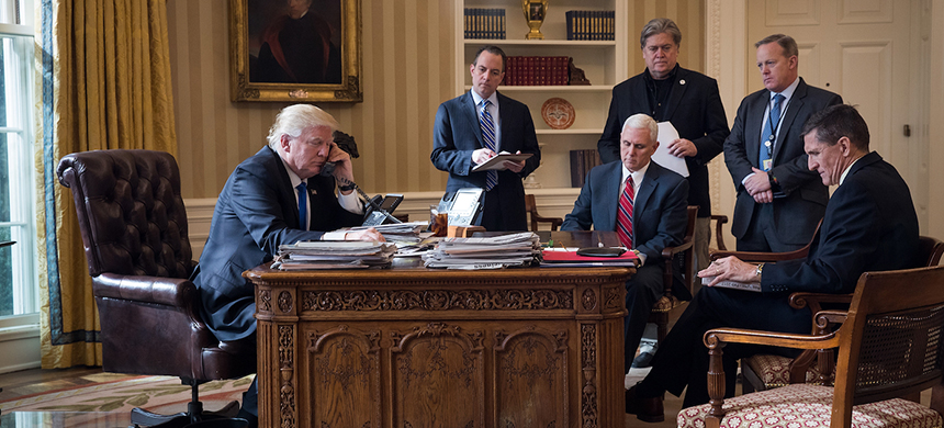 Donald Trump in the Oval Office with Mike Flynn. (photo: Drew Angerer/Getty Images)