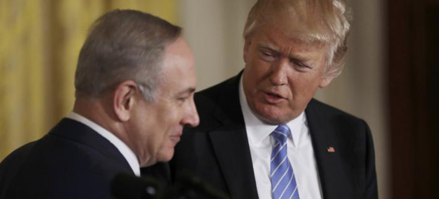 U.S. president Donald Trump (R) and Israeli prime minister Binyamin Netanyahu hold a joint news conference at the White House in Washington, U.S., February 15, 2017. (photo: Carlos Barria/Reuters)