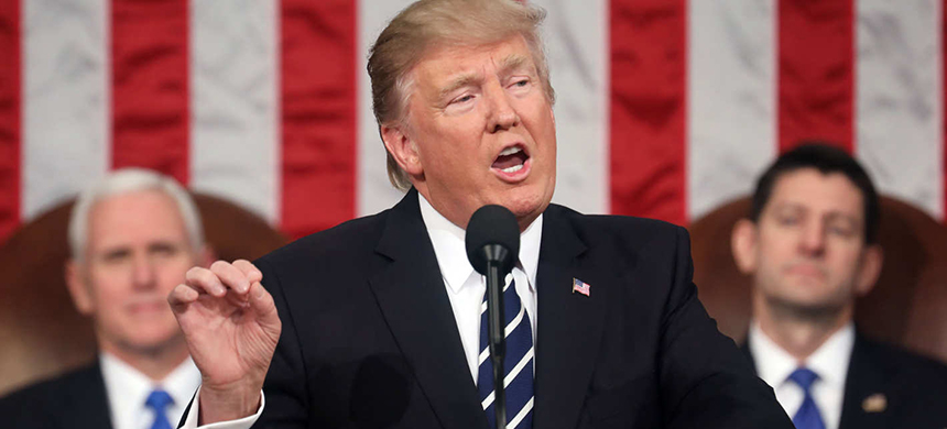 Trump addresses Congress on Tuesday night. (photo: Getty Images)
