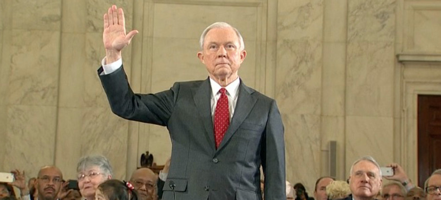 Jeff Sessions during his congressional hearing. (photo: New York Times)