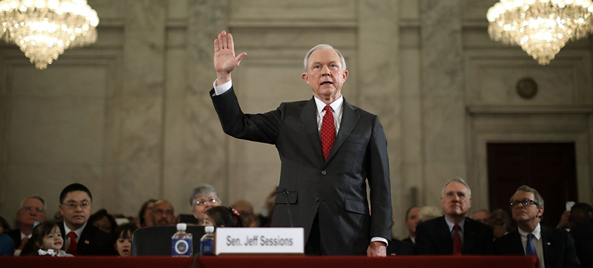 Sen. Jeff Sessions (R-AL) swears to tell the truth before the Senate Judiciary Committee during his confirmation hearing to be the attorney general on Jan. 10, 2017. (photo: Chip Somodevilla/Getty Images)