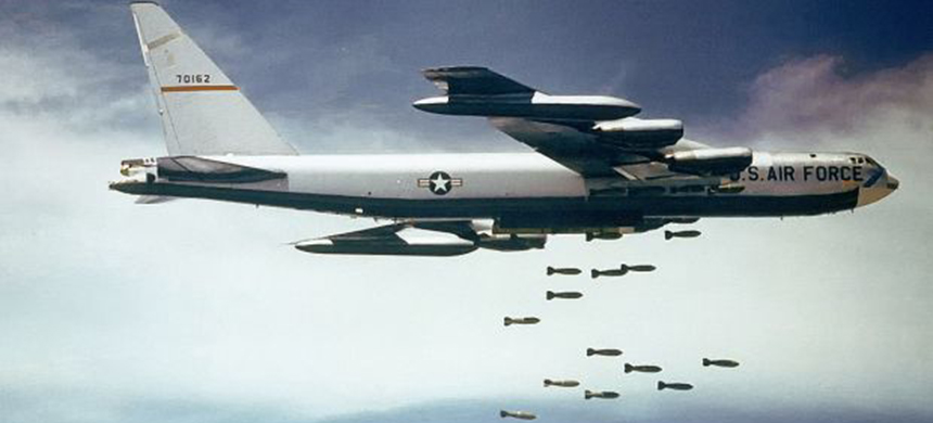 US Air Force B-52 dropping bombs over Southeast Asia in the 1960s. (photo: Public Domain)