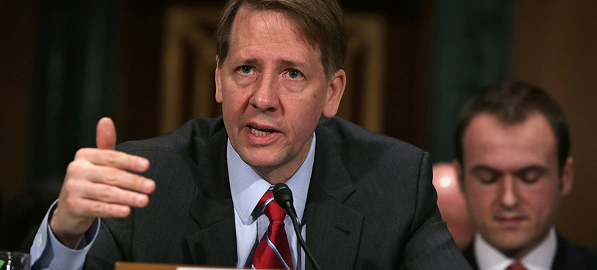 Richard Cordray, director of the Consumer Financial Protection Bureau, testifies before a Senate committee last year. The Trump administration is trying to bring the independent bureau under the president's direct control. (photo: Alex Wong/Getty Images)