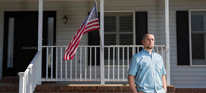 Said Barodi at his home in Stafford, Virginia. Barodi is a former FBI intelligence and language analyst who was fired by the organization. (photo: Eric Kruszewski/Guardian UK)