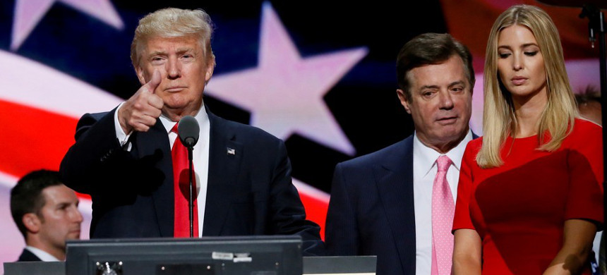 Donald Trump, his former campaign manger Paul Manafort, and Ivanka Trump at the RNC. (photo: Getty)