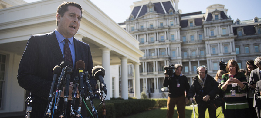 House Intelligence Committee Chairman Rep. Devin Nunes (R-Calif.) speaks with reporters outside the West Wing of the White House following a meeting with President Trump on March 22. (photo: Jabin Botsford/WP)