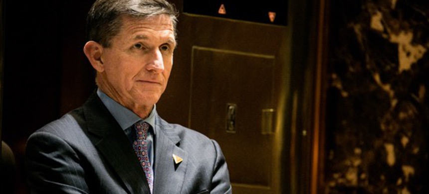 Michael Flynn, who became President Donald Trump's national security adviser briefly, in the lobby of Trump Tower in Manhattan, Dec. 12, 2016. (photo: Sam Hodgson/The New York Times)