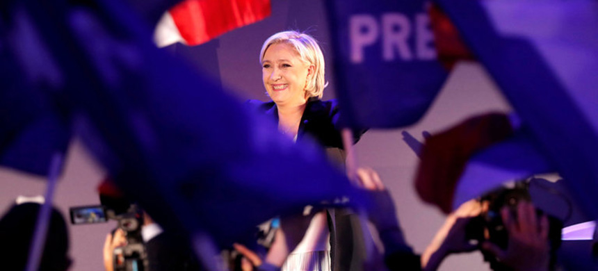 Marine Le Pen at a rally in Hénin-Beaumont, France. (photo: Charles Platiau/Reuters)