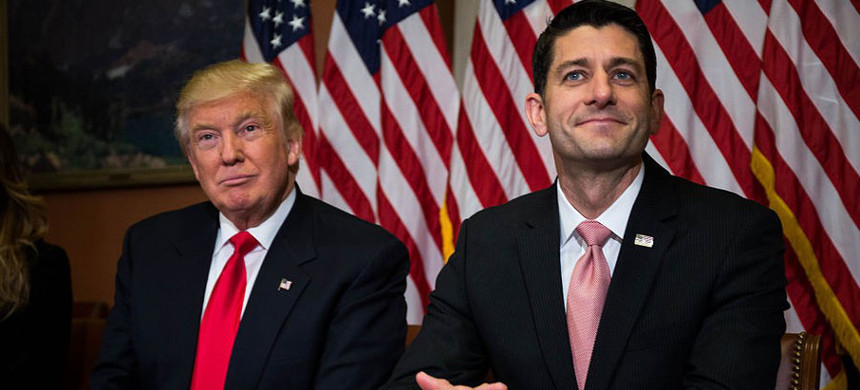 Speaker of the House, Paul Ryan with President Trump. (photo: Getty)