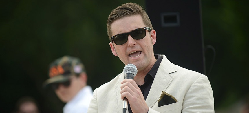 Richard Spencer addresses a rally of white nationalists and right-wing activists on Sunday at the Lincoln Memorial in Washington. (photo: Astrid Riecken/AP)
