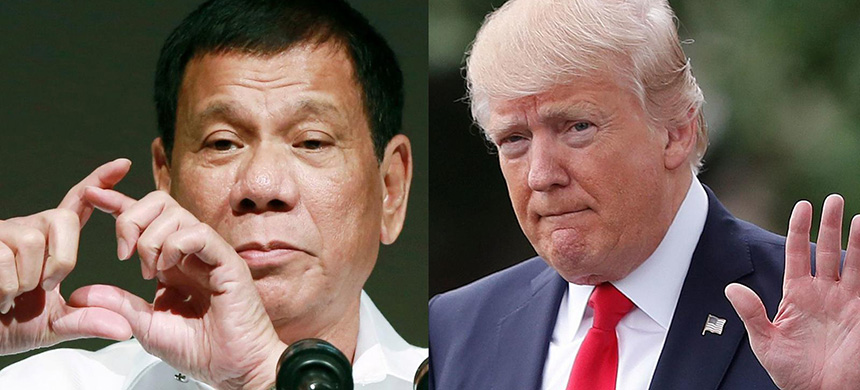 Philippine president Rodrigo Duterte is pictured, left, on October 26, 2016, in Tokyo; U.S. president Donald Trump is pictured, right, April 29, 2017, in Washington. (photo: Eugene Hoshiko/Pablo Martinez M/AP)