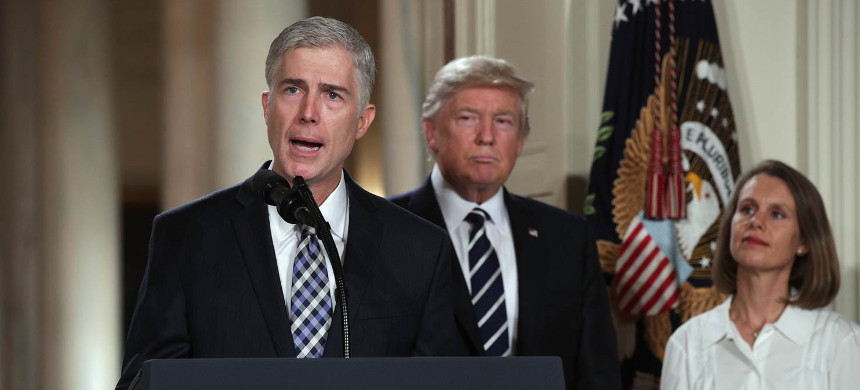 Neil Gorsuch with Donald Trump. (photo: Reuters)