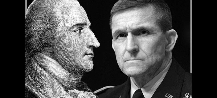 Benedict Arnold (left) who originally fought for the American Continental Army but defected to the British Army and Lt. Gen. Michael Flynn. (right) (photo: Salon)