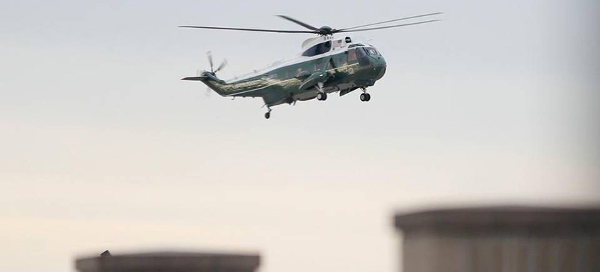 Marine One, with President Donald Trump aboard, lands at Dover Air Force Base, Delaware, Wednesday, February 1, 2017. (photo: Pablo Martinez Monsivais/AP)