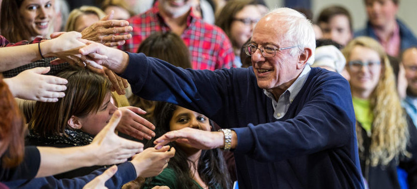 Senator Bernie Sanders shakes hands with his supporters in New Hampshire. (photo: Andrew Burton/Getty)