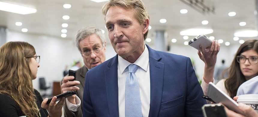 'You never rule anything out, but I'm not going there,' Sen. Jeff Flake said in response to calls for a special prosecutor. (photo: John Shinkle/Politico)