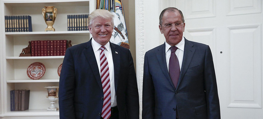 President Trump and Russian foreign minister Sergei Lavrov at the White House. (photo: Russian Foreign Ministry/AFP/Getty Images)
